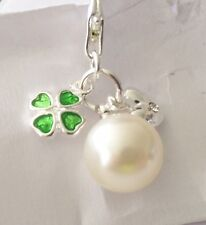 SILVER & GREEN SHAMROCK & HEART ON A PEARL CLIP ON CHARM FOR CHARM BRACELETS-NEW