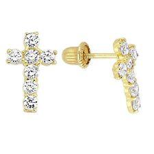 14K Yellow Gold Screw Back Cubic Zirconia  Cross Earrings For Baby & Children