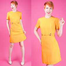 HOUSE OF BRANELL Vtg 60s Mod Golden Yellow LINEN A-LINE Mini Scooter Dress L