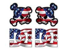4x USA U.S. Skull Racing Aufkleber Sticker Ken Block Oldschool Hotrod Hoonigan