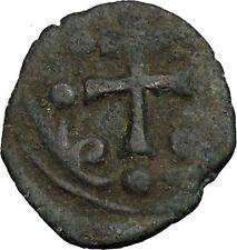 JESUS CHRIST Class H Anonymous Ancient 1071AD Byzantine Follis Coin CROSS i52372