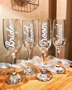 Wedding Vinyl Sticker Champagne Flute Bridesmaid Glass Bride Personalised Name