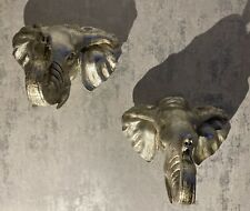 Elephant Wall Sconces X2 Silver Hanging Decorative