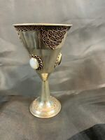Antique sterling silver kiddush cups w/filigree & stone inlay  109