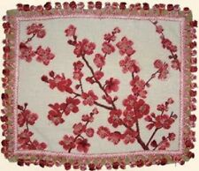"""18"""" x 22"""" Handmade Wool Needlepoint Red Blooming Plums Pillow with Tassels"""