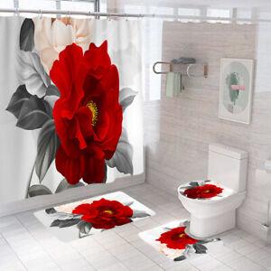 Floral Shower Curtain Bathroom Rug Set Thick Bath Mat Non-Slip Toilet Lid Cover