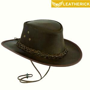 AUSTRALIAN LEATHER BUSH HAT COWBOY WESTERN AUSSIE OUTBACK HAT DISTRESSED BROWN
