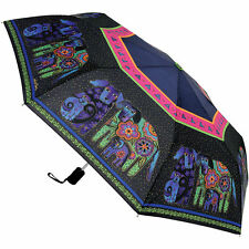 LAUREL BURCH Compact Umbrella Black DOG & DOGGIES ~ Auto Open & Close ~ New