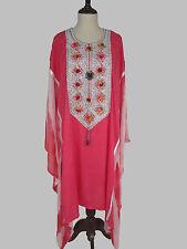 """2X 3X 4X 5X  Soft Cotton Kaftan L 42"""" Embroidered Caftan Tunic Dress EP91"""