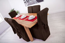 Set of 4 Chocolate Fabric Dining Chair Covers for Scroll Top High Back Leather