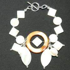"CF141 ""Ocean's Delight"" Mother of Pearl Shell Bead & Silver Beads 7"" Bracelet"