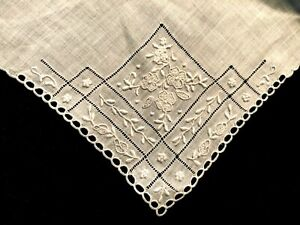 Antique Swiss Handmade Linen Handkerchief