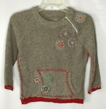 FREE PEOPLE Girls Small Sweater Wool Angora Patchwork Embroidery