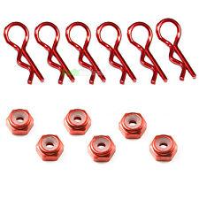 6 X Rosso RC Auto Body Clip & 6 x m4 4mm anodizzato DADI DELLE RUOTE 1/10 1/12 1/16 Tamiya