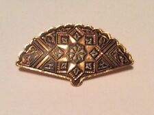 Vintage Gold Tone Fan with Detailed Design Brooch Pin