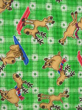 Handcrafted flannel fitted crib sheet Green Plaid/w skiing Reindeer/ Neutral