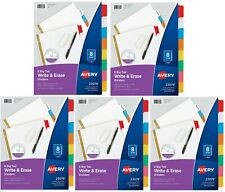 Avery 8 Tab Binder Dividers5 Set Write Amp Erase Multicolor Big Tabs 3 Hole Punch