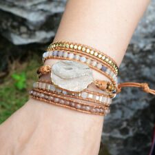 Titanium Champagne Natural Galaxy Quartz Druzy Wrap Leather Bracelet Friendship