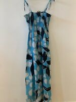 BLUE STRAPPY MAXI DRESS CAMI 14 HOLIDAY BEACH SUN IBIZA MARBS PRETTY SUMMER CUTE