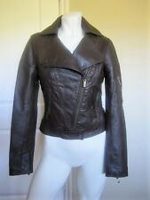 NWOT BEBE BROWN LEATHER STUDED MOTORCYCLE JACKET SIZE: S