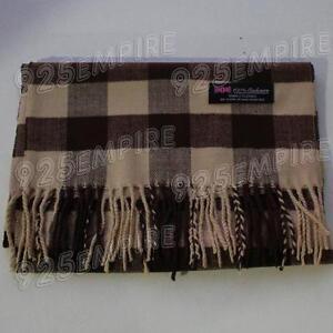 Men's 100% CASHMERE Brown Square check tartan Plaid Scarf MADE IN SCOTLAND