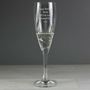 Personalised Crystal Champagne Flute Glass Birthday Wedding Engagement Gift