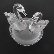 Estatua Figura Escultura 2 Cisnes de Base de Cristal Cristal