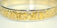 STERLING SILVER HAWAIIAN BANGLE BRACELET RAISED GOLD FLOWERS & LEAVES 8.5 INCHES
