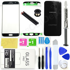 Black Samsung Galaxy S7 Edge G935 Front Screen Lens Back Glass Replacement Kit