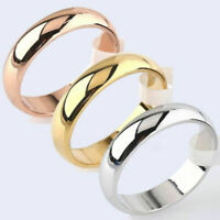 4mm Round 18K Yellow White/Rose Gold Plated Ring Men/Women's Band Wedding Sz6-12