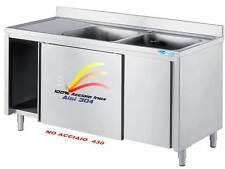 Lavello cm 180x70x85  in Acciaio Inox Lavatoio 2 vasche Armadiato Professionale