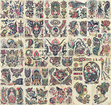 32 Sheets Traditional, Vintage Style American Old School Tattoo Flash Collection