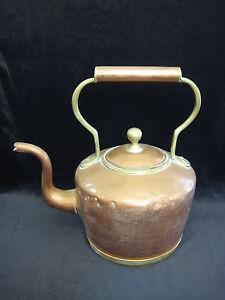 "Vintage Handmade Copper Tea Kettle Pot, 12"" Tall Including Handle X 12"" Widest"