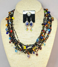 CHICO'S MULTI COLOR BEAD, BLACK SILK & SILVER TONE BRAIDED Jewelry Set NWOT