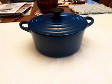 Vintage Le Creuset  Cast Iron Royal Blue Dutch Oven 2 Quart
