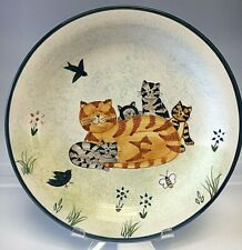 Four Cat Dishes Plates Creatively Yours Hand Painted 2 Dinner Plates + 2 Salad