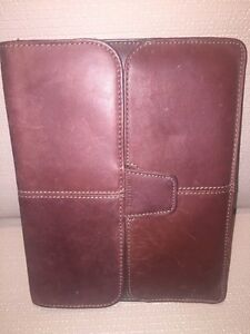 """TARGUS HUGHES Brown Leather Portfolio Case Fits Any 9"""" Tablet"""