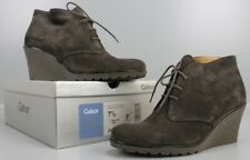 Gabor Ankle Boots Keilabsatz Schnür-Stiefelette Verlourleder Gr 41 / 7½ Braun P2