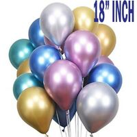 "18"" INCH Chrome Balloons 5 PCK of Latex Birthday Party Decor Celebration"