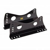 FIA UNIVERSAL OMP RACING SEAT MOUNT BRACKETS BLACK STEEL