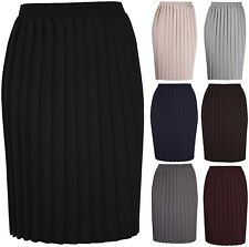 Womens New Plain Pleated Stretch Ladies Elasticated Waist Long Skirt Plus Size