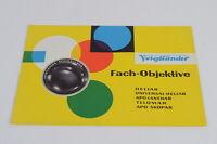 Voigtländer Fach-Objektive Heliar Telomar etc Prospekt 60er Jahre guter Zustand