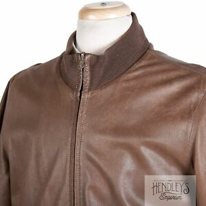 Vintage 90s SULKA Leather Bomber Jacket M in Chestnut Brown Reverses to Wool