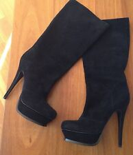High (3 in. and Up) Suede Pull On Slim Boots for Women