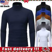 Mens Long Sleeve High Collar Turtle Neck T Shirt Tops Stretch Jumper Sweater Tee