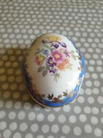 Vintage PM Dresden GDR Oval Porcelain Trinket Box. Floral & Gilt Decoration.