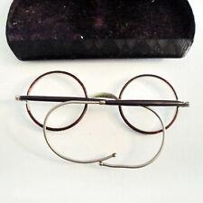 1930s Round Eyeglasses in Original Etui, Brille der 1930er im Originaletui