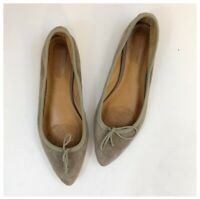 Corso Como Beige Suede Pointed Toe Flats Size 6 Bow Tie Leather Womens