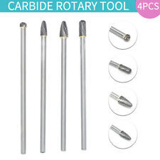 4 Pcs Cemented Carbide Long Rotary Files Double Cut Burr Set 1/4'' Shank Metal