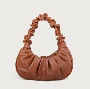 VEGAN LEATHER SMALL Ruched Tan Brown Bagette Bag Simone Handbag Rocks Boutique